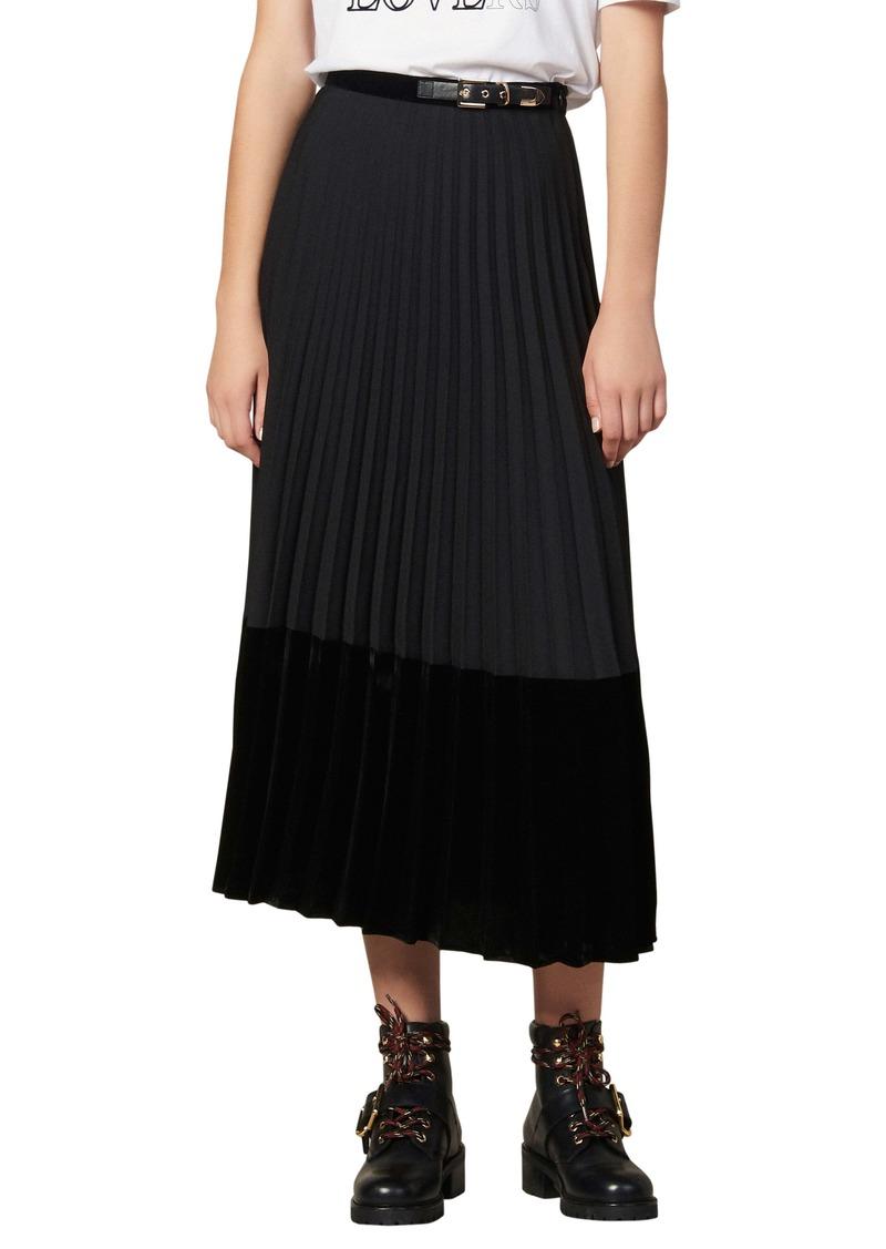 sandro Velna Velvet Detail Pleated Midi Skirt