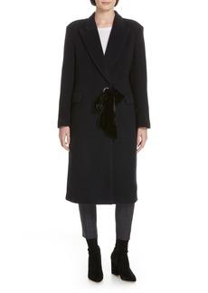 sandro Velvet Tie Wool Blend Coat