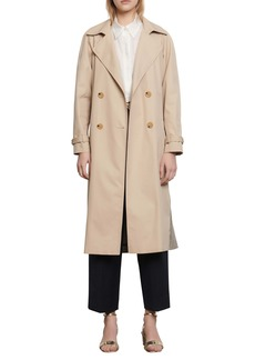 sandro Victory Plaid Back Cotton Trench Coat
