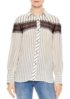 Sandro Viki Striped Lace-Inset Shirt