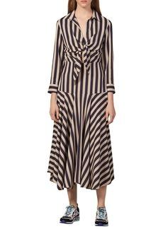 sandro Vilna Stripe Long Sleeve Midi Dress