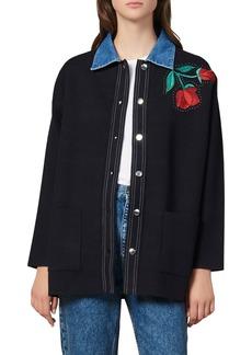sandro Waren Embroidered Cardigan Sweater