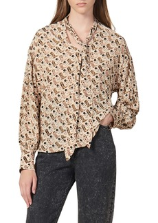sandro West Cowboy Boot Print Tie Neck Blouse