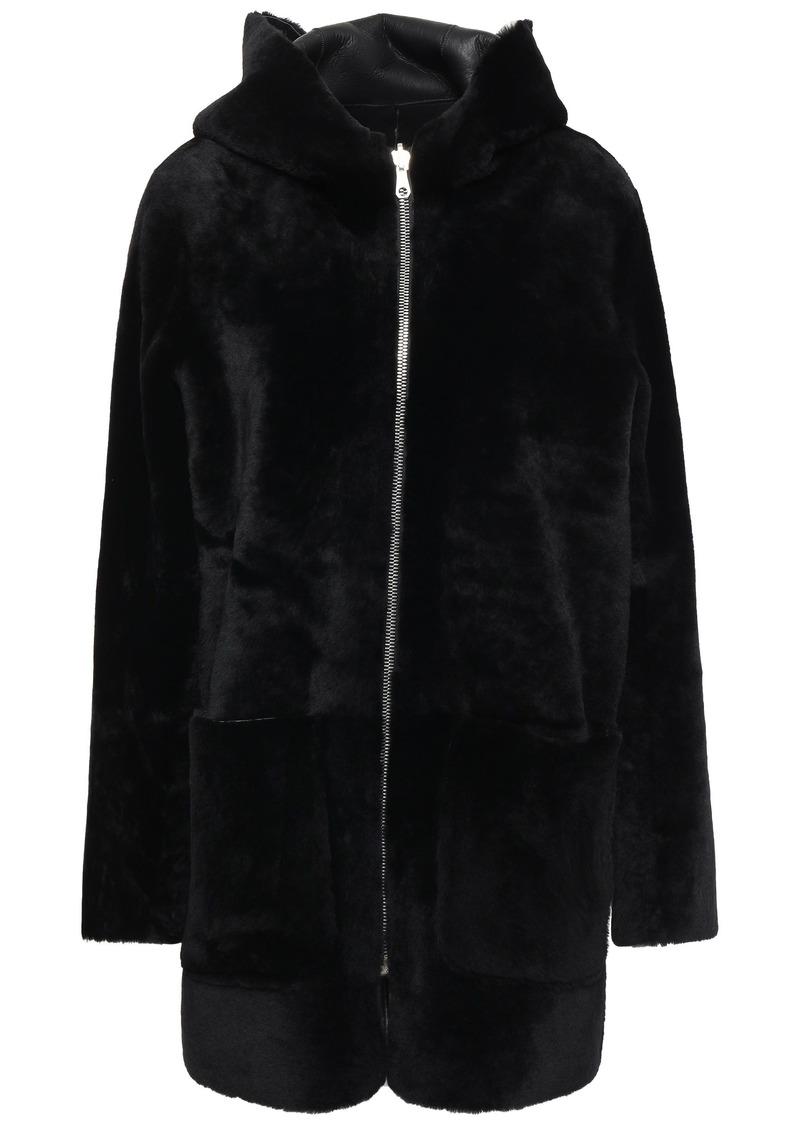 Sandro Woman Aconit Reversible Shearling Hooded Coat Black