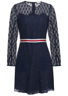 Sandro Woman Alicia Grosgrain-trimmed Embroidered Tulle And Lace Mini Dress Navy