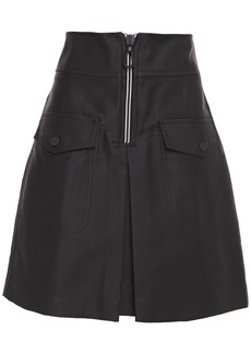 Sandro Woman Aliya Zip-detailed Cotton-blend Twill Mini Skirt Black