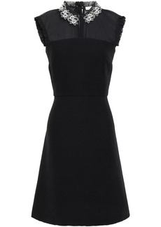 Sandro Woman Amaryllis Embellished Satin-crepe And Georgette Mini Dress Black
