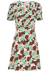 Sandro Woman Antropique Floral-print Silk Crepe De Chine Mini Dress Pastel Pink