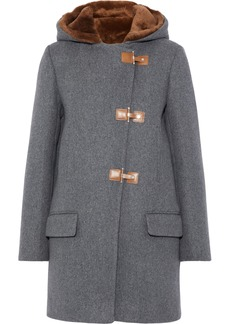 Sandro Woman Atteo Shearling-trimmed Wool-felt Hooded Coat Gray