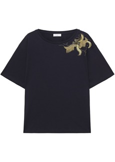 Sandro Woman Ave Embellished Cotton-jersey T-shirt Midnight Blue