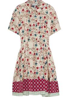 Sandro Woman Ayeon Open-back Floral-print Silk-twill Mini Shirt Dress Ecru