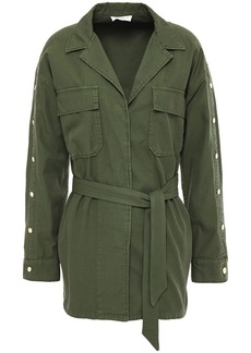 Sandro Woman Bari Belted Cotton And Linen-blend Twill Jacket Leaf Green