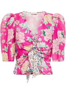 Sandro Woman Becky Cropped Floral-print Linen And Silk-blend Shantung Top Bright Pink