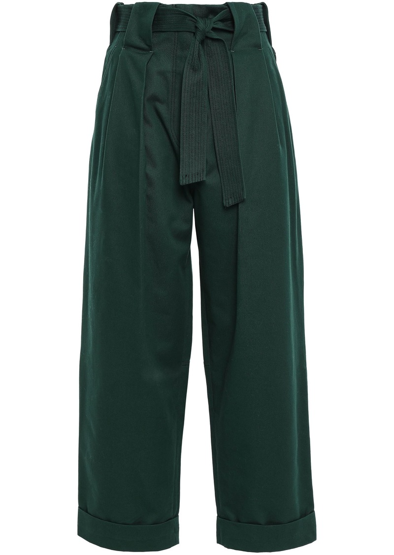 Sandro Woman Belted Cotton-gabardine Wide-leg Pants Dark Green