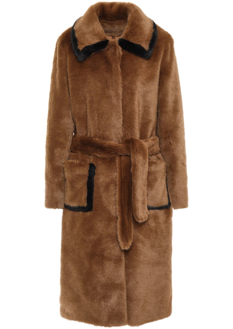 Sandro Woman Belted Faux Fur Coat Camel