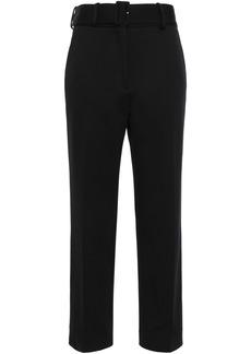 Sandro Woman Belted Jersey Straight-leg Pants Black