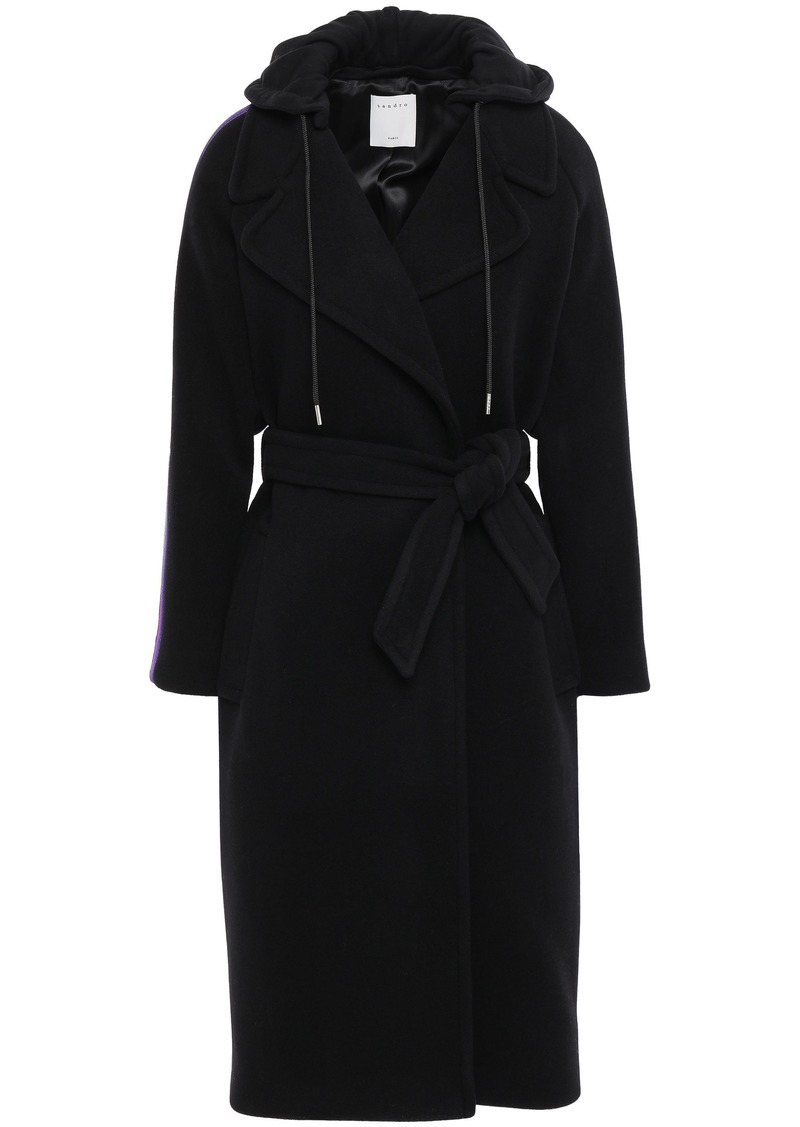 Sandro Woman Belted Wool-blend Felt And Jersey Hooded Coat Black