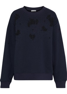 Sandro Woman Bijoux Bead-embellished French Cotton-blend Terry Sweatshirt Navy