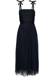 Sandro Woman Bishop Satin-trimmed Ruched Tulle Midi Dress Navy