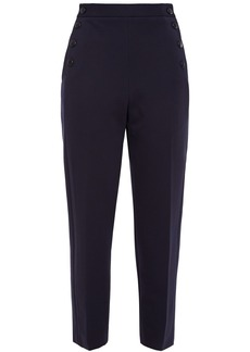 Sandro Woman Bridge Button-detailed Stretch-jersey Tapered Pants Navy