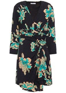 Sandro Woman Bruni Wrap-effect Draped Floral-print Jacquard Mini Dress Black