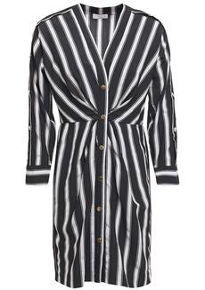 Sandro Woman Camelia Pleated Striped Woven Mini Dress Black