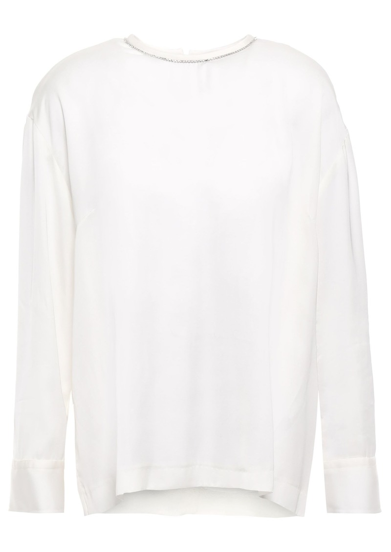 Sandro Woman Camille Crystal-embellished Satin-crepe Top Off-white