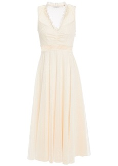 Sandro Woman Cassy Ruffle-trimmed Embroidered Tulle Midi Dress Cream