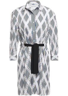 Sandro Woman Celian Tie-front Crochet And Striped Twill Mini Shirt Dress White