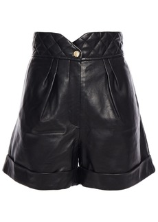 Sandro Woman Cena Quilted Leather Shorts Black