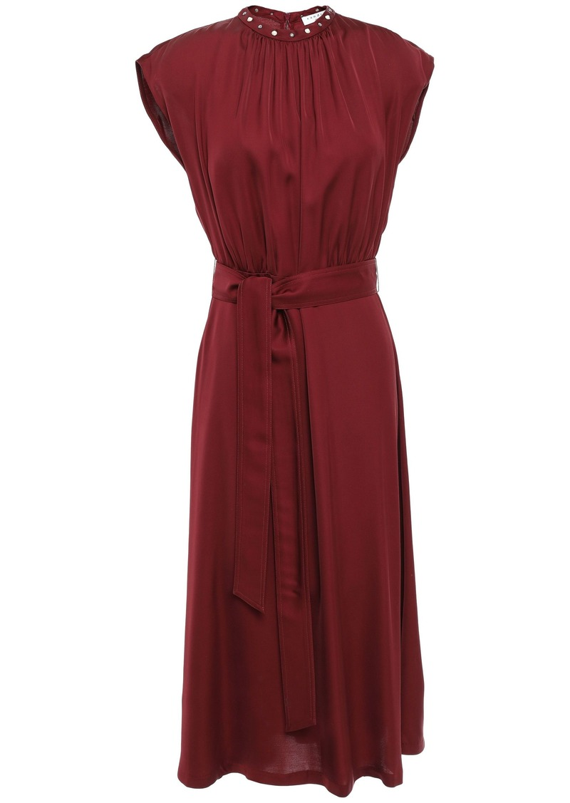 Sandro Woman Conique Belted Studded Satin Midi Dress Claret