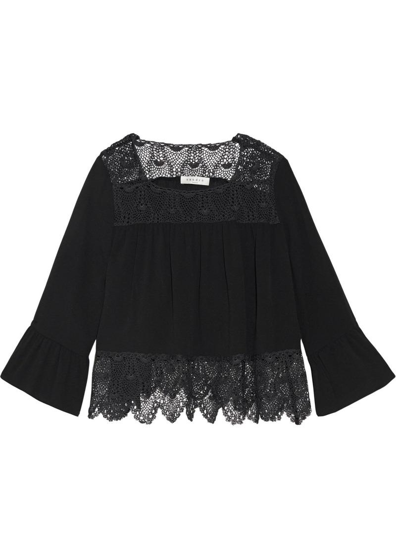 Sandro Woman Corded Lace-paneled Crepe Top Black
