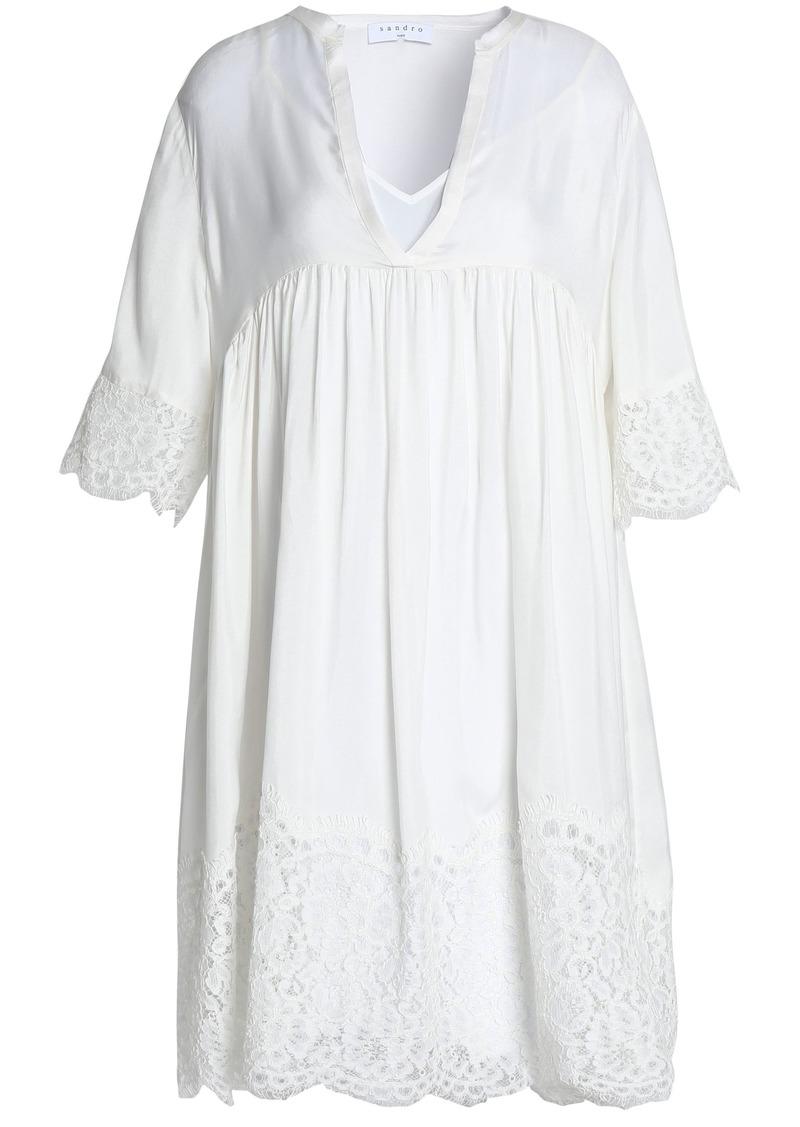Sandro Woman Corded Lace-paneled Gathered Cupro Dress White
