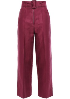 Sandro Woman Cotton-blend Twill Straight-leg Pants Burgundy