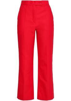 Sandro Woman Cotton-blend Twill Straight-leg Pants Claret