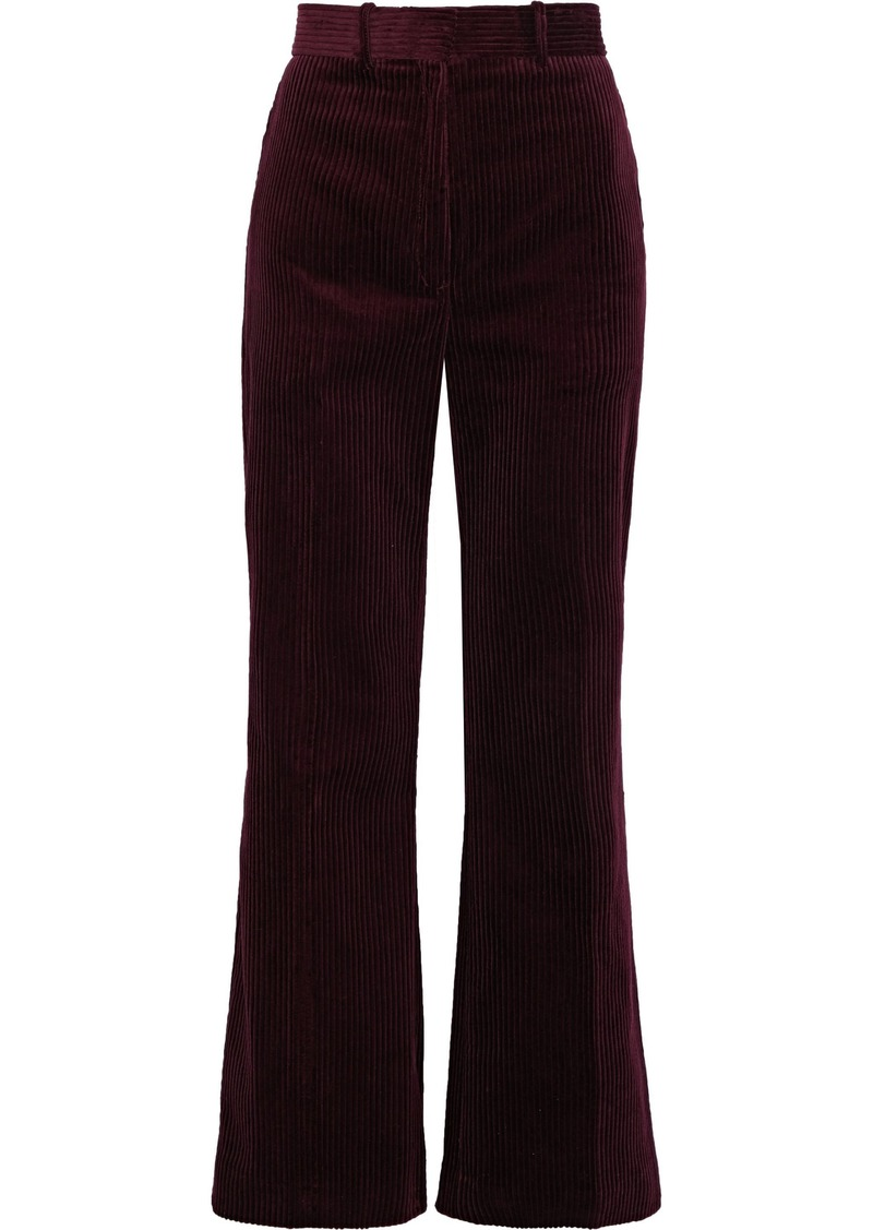 Sandro Woman Cotton-corduroy Bootcut Pants Plum