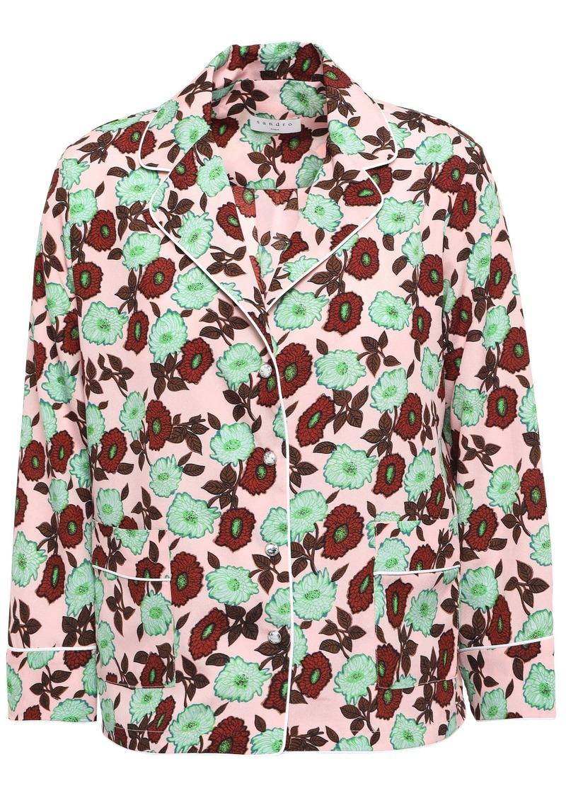 Sandro Woman Arum Floral-print Crepe De Chine Shirt Pastel Pink