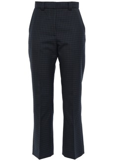Sandro Woman Cropped Checked Twill Bootcut Pants Midnight Blue
