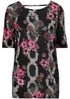 Sandro Woman Cutout Floral-print Jersey Top Black