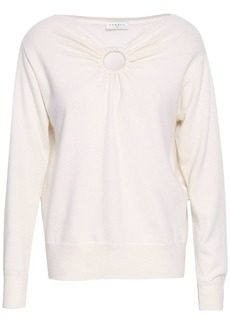 Sandro Woman Cutout Wool And Cashmere-blend Sweater Ivory