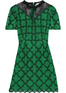 Sandro Woman Donia Paneled Embroidered Chantilly Lace Mini Dress Green