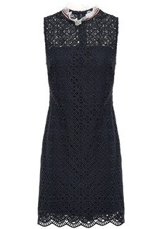 Sandro Woman Dovera Ruffle-trimmed Macramé Lace Mini Dress Midnight Blue