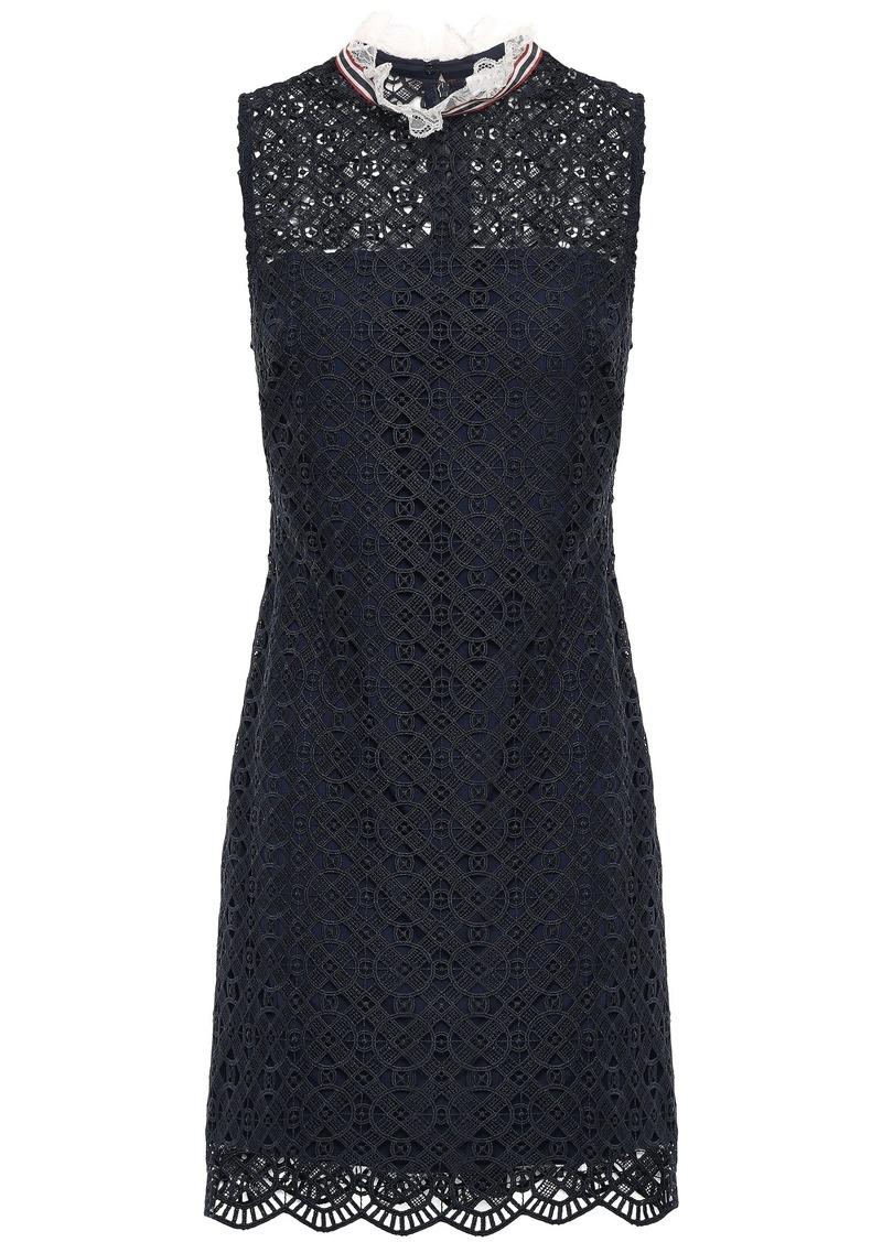 Sandro Woman Dovera Ruffle-trimmed Macramé Lace Mini Dress Midnight Blue