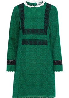 Sandro Woman Dylan Lace-trimmed Crocheted Cotton-blend Mini Dress Green