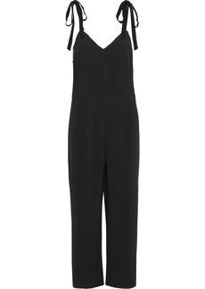 Sandro Woman Ellande Cropped Faux Pearl-trimmed Stretch-crepe Jumpsuit Black