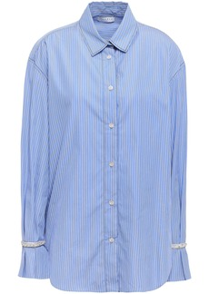 Sandro Woman Embellished Striped Cotton-poplin Shirt Light Blue