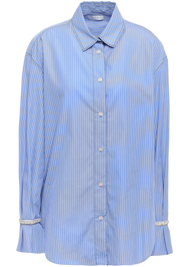 Sandro Woman Embellished Striped Cotton-poplin Shirt Light Blue