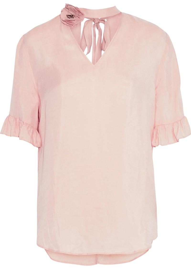 Sandro Woman Embellished Cutout Washed-twill Top Blush