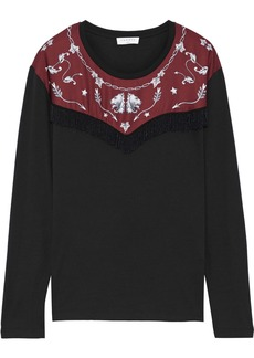 Sandro Woman Embellished Printed Satin-paneled Jersey Top Black