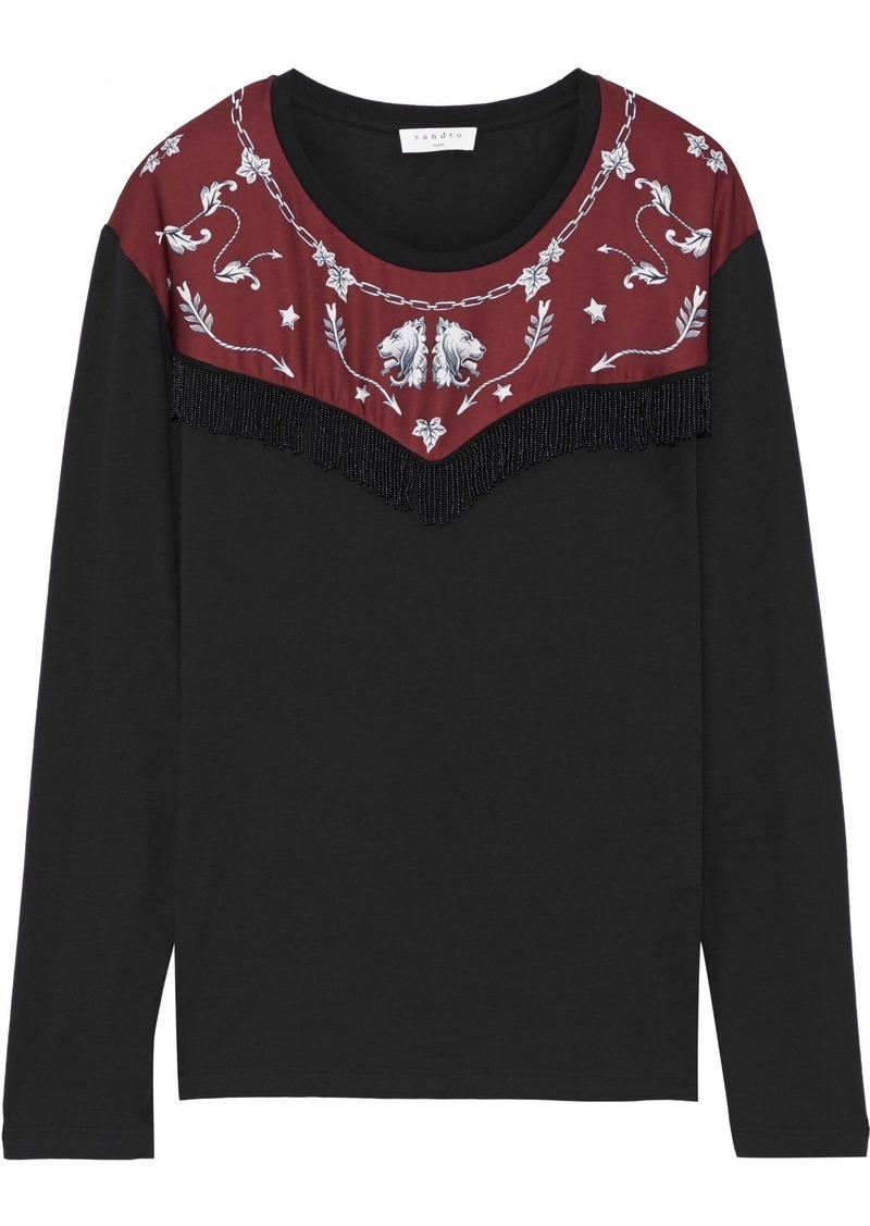 Sandro Woman Embellished Printed Satin-paneled Jersey Top Black